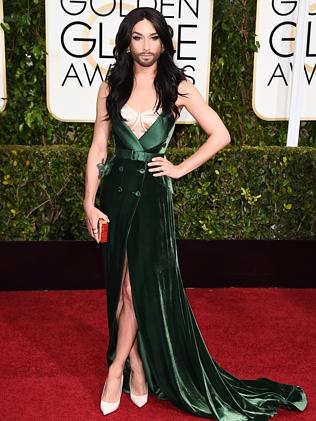 Eurovision singer Conchita Wurst arrives at the 72nd annual Golden Globe Awards.