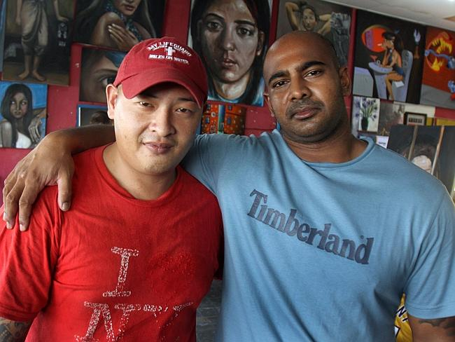 Andrew Chan and Myuran Sukumaran inside the art workshop of Kerobokan jail in Bali.