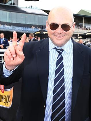 Peter Moody after winning both Group 1s, the All Aged Stakes and the Champagne Stakes.