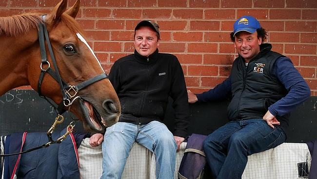 Trainers Mat Ellerton and Simon Zahra with Epic Saga. Picture: Colleen Petch