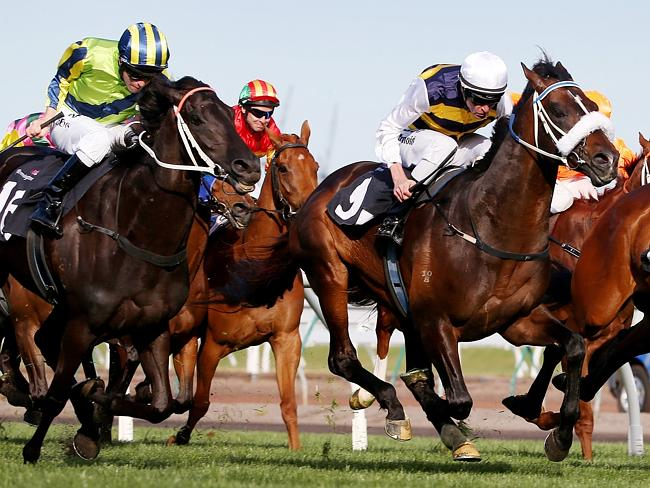 Lidari (R) in the Turnbull Stakes. Picture: Colleen Petch.