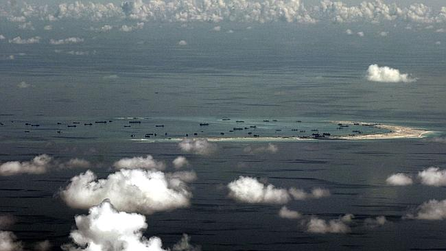 This aerial photo shows China's alleged ongoing reclamation of Mischief Reef in the Sprat