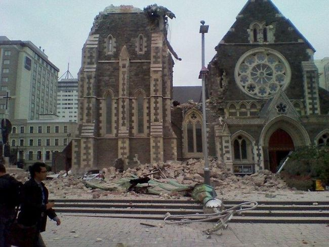 Christchurch Cathedral after the earthquake...
