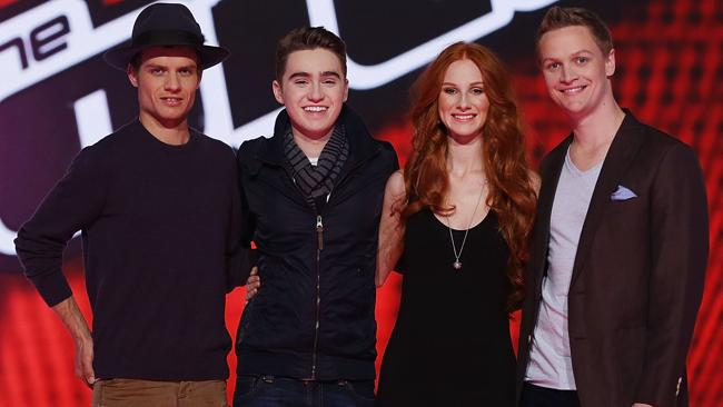 WHO IS THE VOICE? Danny Ross, Harrison Craig, Celia Pavey and Luke Kennedy. Pic: Getty