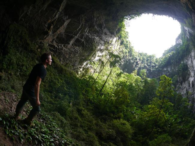 Luke inside the cave. Picture: Bart Jellema