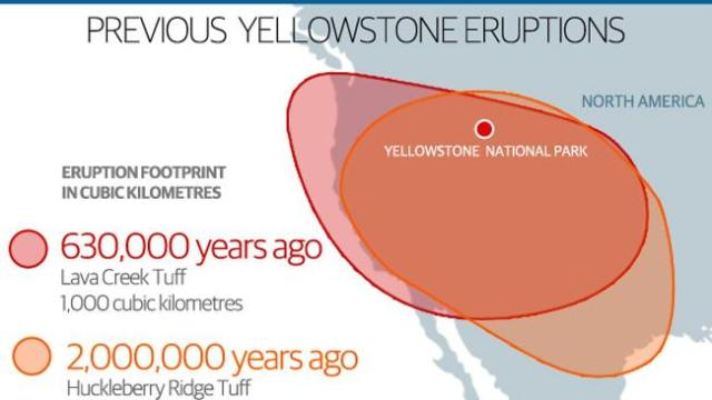 Fallout zone ... How far the ash and debris from previous eruptions at Yellowstone have spread.
