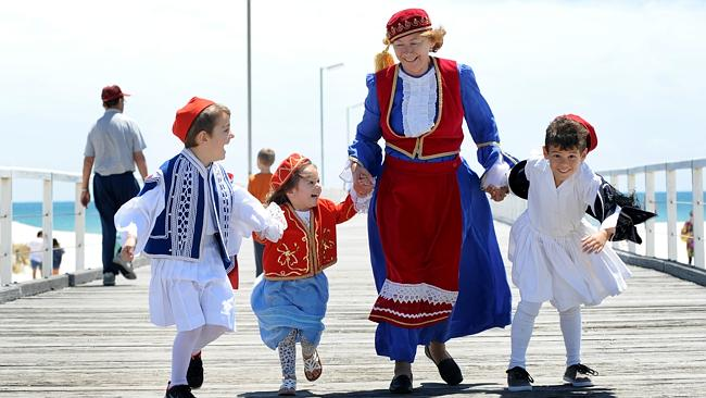 Greek dancers Harry Katsaneris, 5, Zoi Katsaneris, 2, Alexandra Vakitsidis, 63, and Christofer Vakitsidis, 6. Picture: David ...