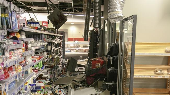 Damage ... a supermarket in Kefalonia was shaken by a quake last week.