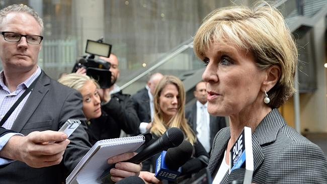 Julie Bishop following her meeting with the Russian Ambassador Vladimir Morozov.