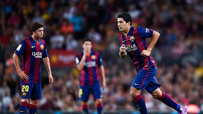 Luis Suarez of FC Barcelona comes onto the pitch during the Joan Gamper Trophy.