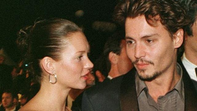 Depp arrives with Kate Moss at the Festival palace in Cannes in 1998.