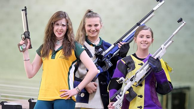 Elise Downing, Monica Woodhouse, and Erika Dwyer are all expert shooters at the Belmont G