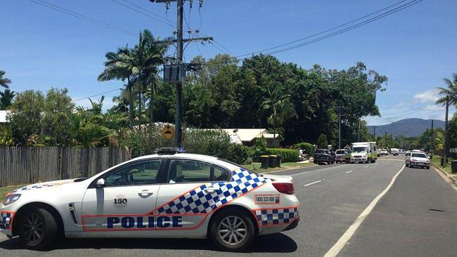 Police on the scene of a major incident in the Cairns suburb of Manoora.