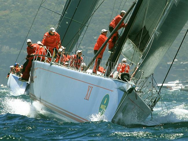Wild Oats XI sails out of the Heads in hot pursuit. Picture: Mark Evans