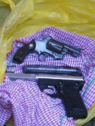 Guns found buried in the garden of Barbaro's Carlton flat. Picture: Australian Federal Po