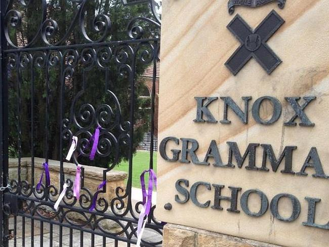 Image show purple ribbons have been tied to the gates of Knox Grammar to show support for