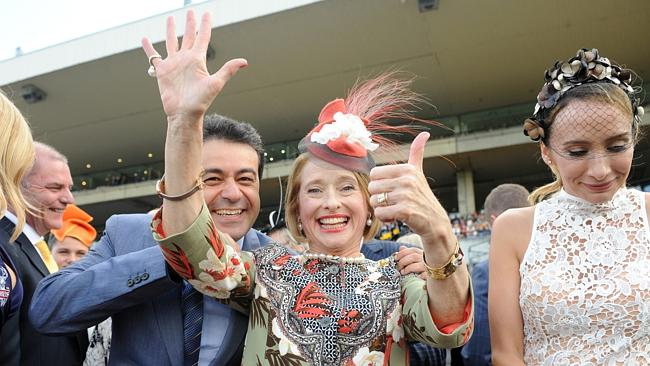 Gai Waterhouse makes it clear she has now won six Golden Slippers. Picture: Simon Bullard