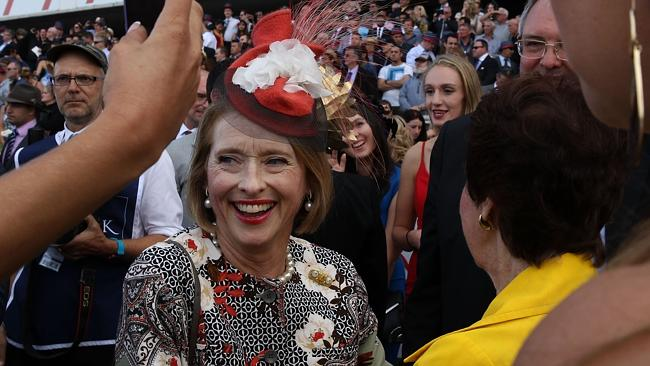 Star of the show Gai Waterhouse after winning the Golden Slipper. Picture: Getty Images