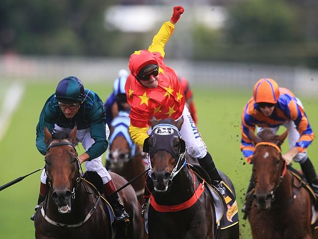 Dissident makes it four Group 1s for the season in his farewell race. Picture: Mark Evans