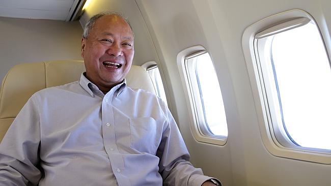 Hong Kong based billionaire Tony Fung on board his corporate Boeing 757 jet. Picture: Mar