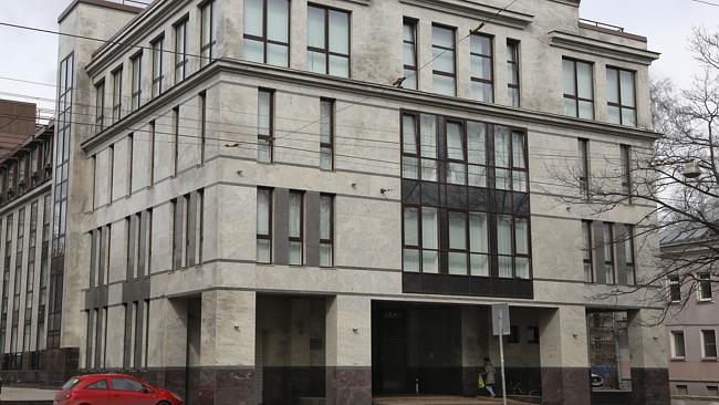 """The building believed to house the """"troll farm"""" at 55 Savushkina Street, St. Petersburg,"""