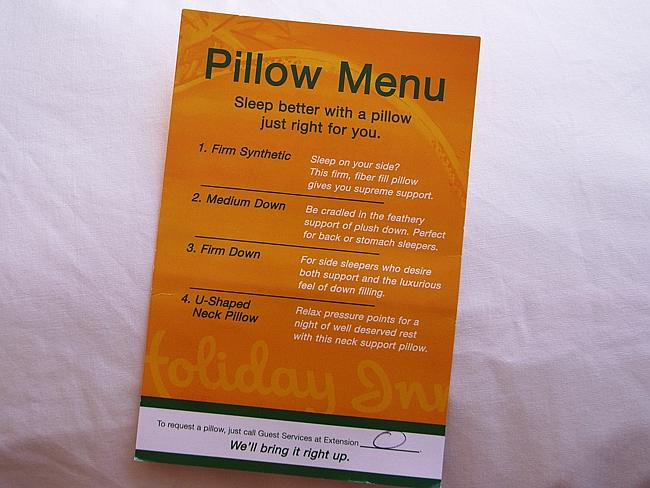 Pillow menu at the Holiday Inn. Picture: Thomas Angermann/Flickr