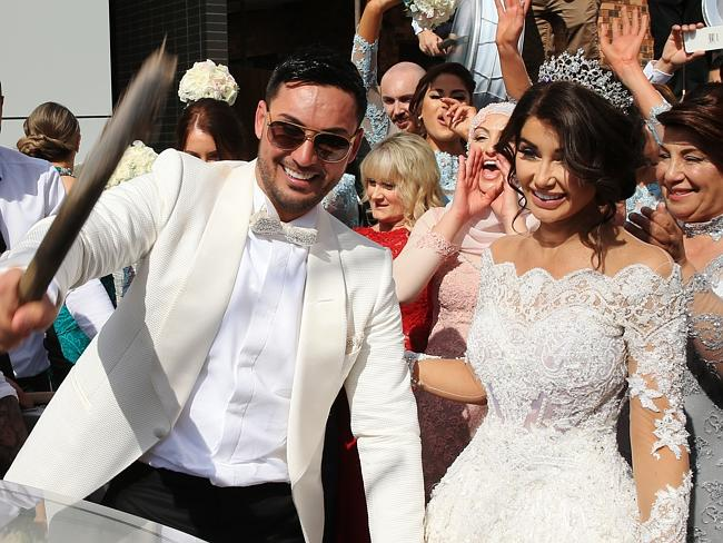 Auburn deputy mayor Salim Mehajer with his bride Aysha. Picture: Toby Zerna