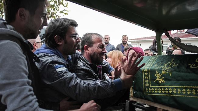 The brother of a mother of two killed in the weekend bombings in Ankara cries over her co