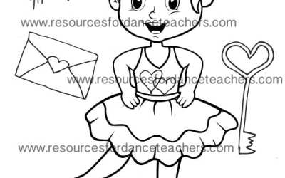Cute ideas for Valentines Day Preschool Ballet with free colouring page.