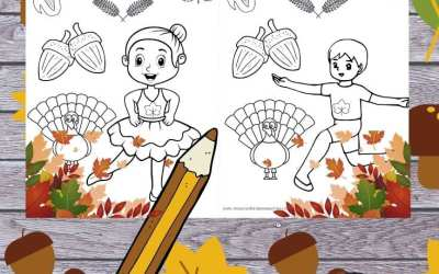 Free Thanksgiving ballet coloring page