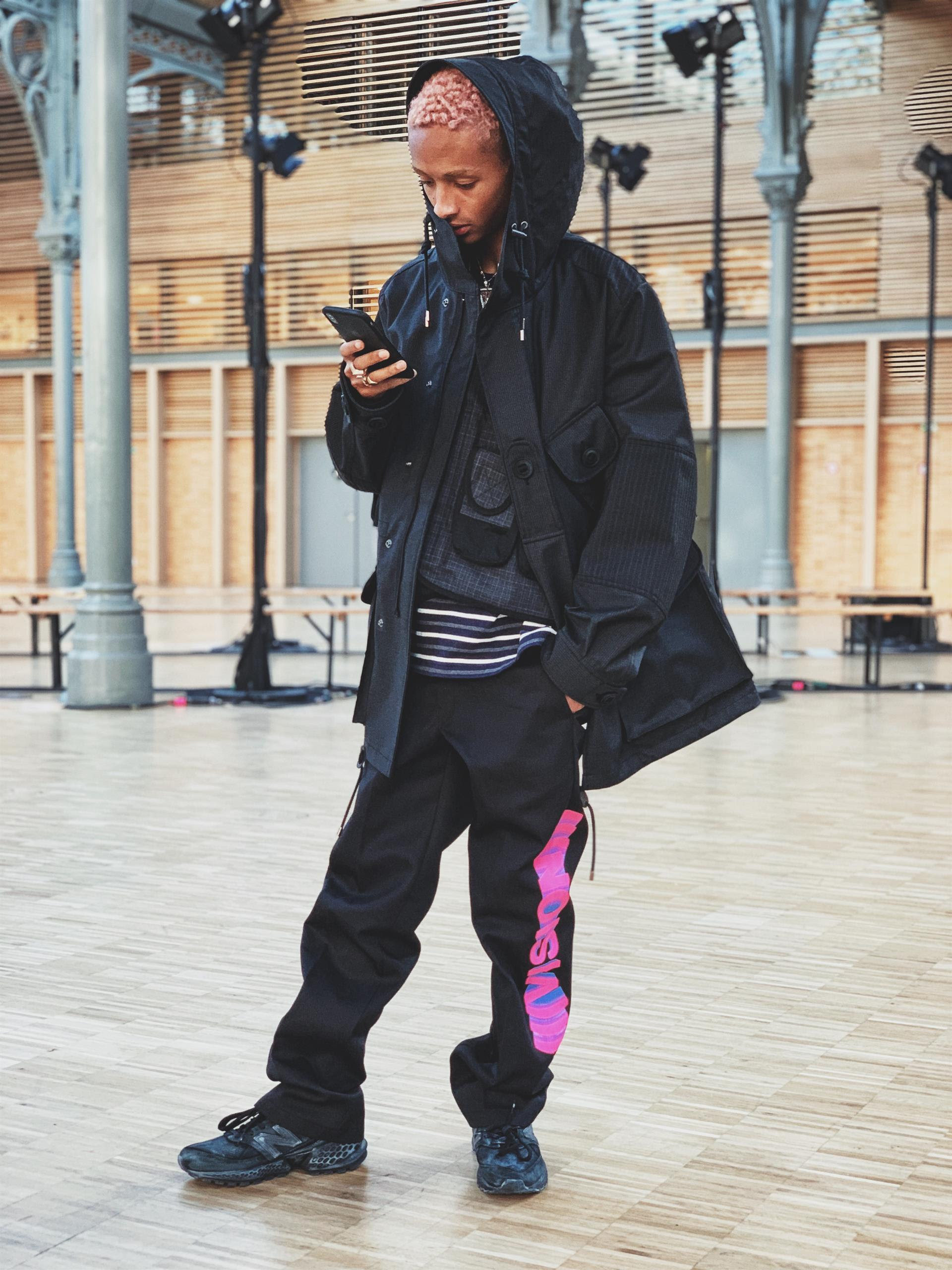 ab8c2e3ed932b Jaden Smith Spotted Wearing The New Balance 574 Sport at The Junya Watanabe  FW19 Show