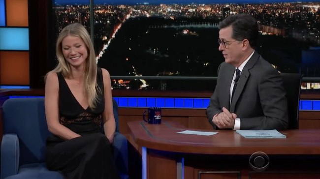 Stephen Colbert interviews Gwyneth Paltrow about Goop