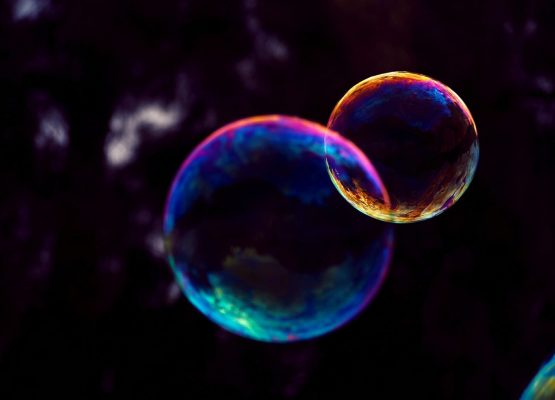 closeup photo of two bubbles