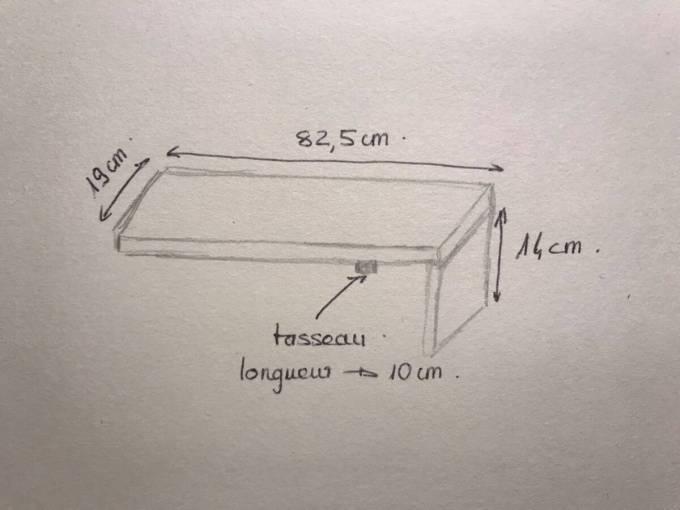 croquis du plateau de baignoire avec les dimensions