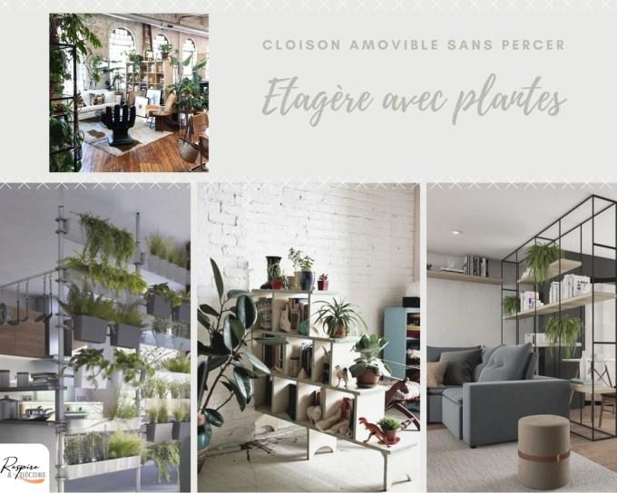 Cloison amovible sans percer: une astuce à utiliser est l'étagère avec des plantes