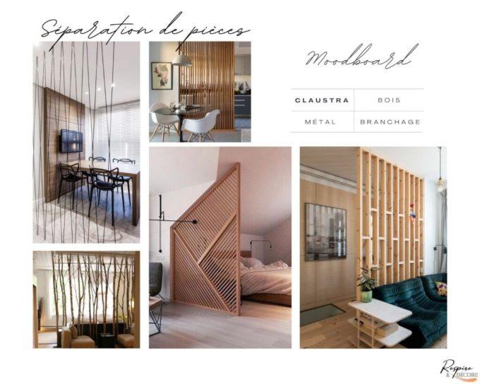 Planche d'ambiance avec une sélection de photos montrant des claustras en bois, métal et branchages