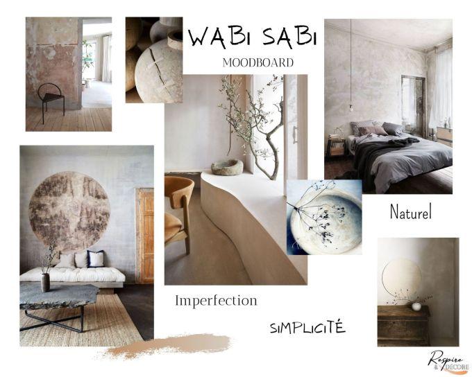 Moodboard ou planche d'ambiance que j'ai réalisé pour vous présenter la tendance Wabi Sabi en décoration.