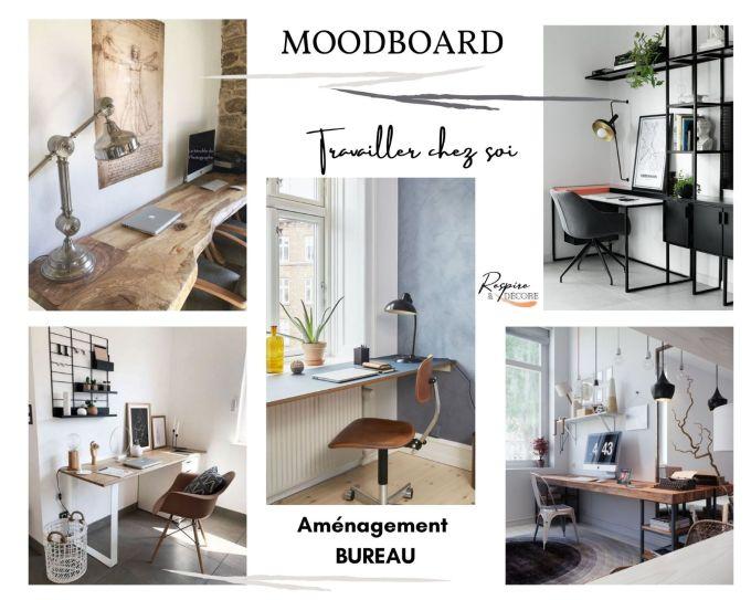 Moodboard présentant des inspirations de bureau pour travailler chez soi