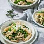 asparagus mushroom pasta 3 plates 3/4 angle