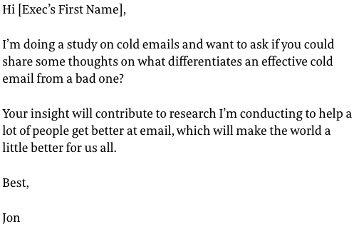 Cold Email Example by Shane Show