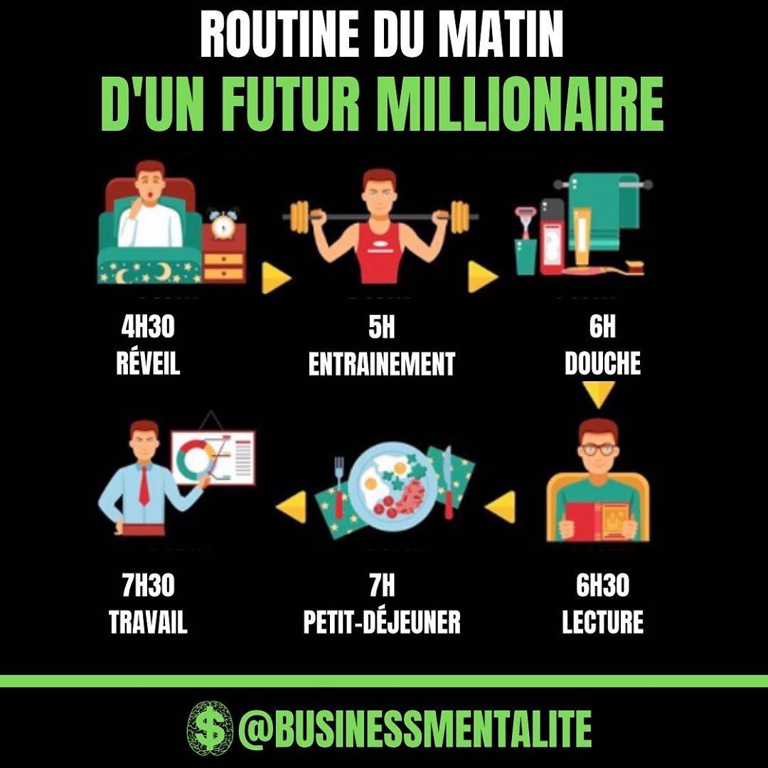 6 moments de la routine du matin d'un futur millionnaire