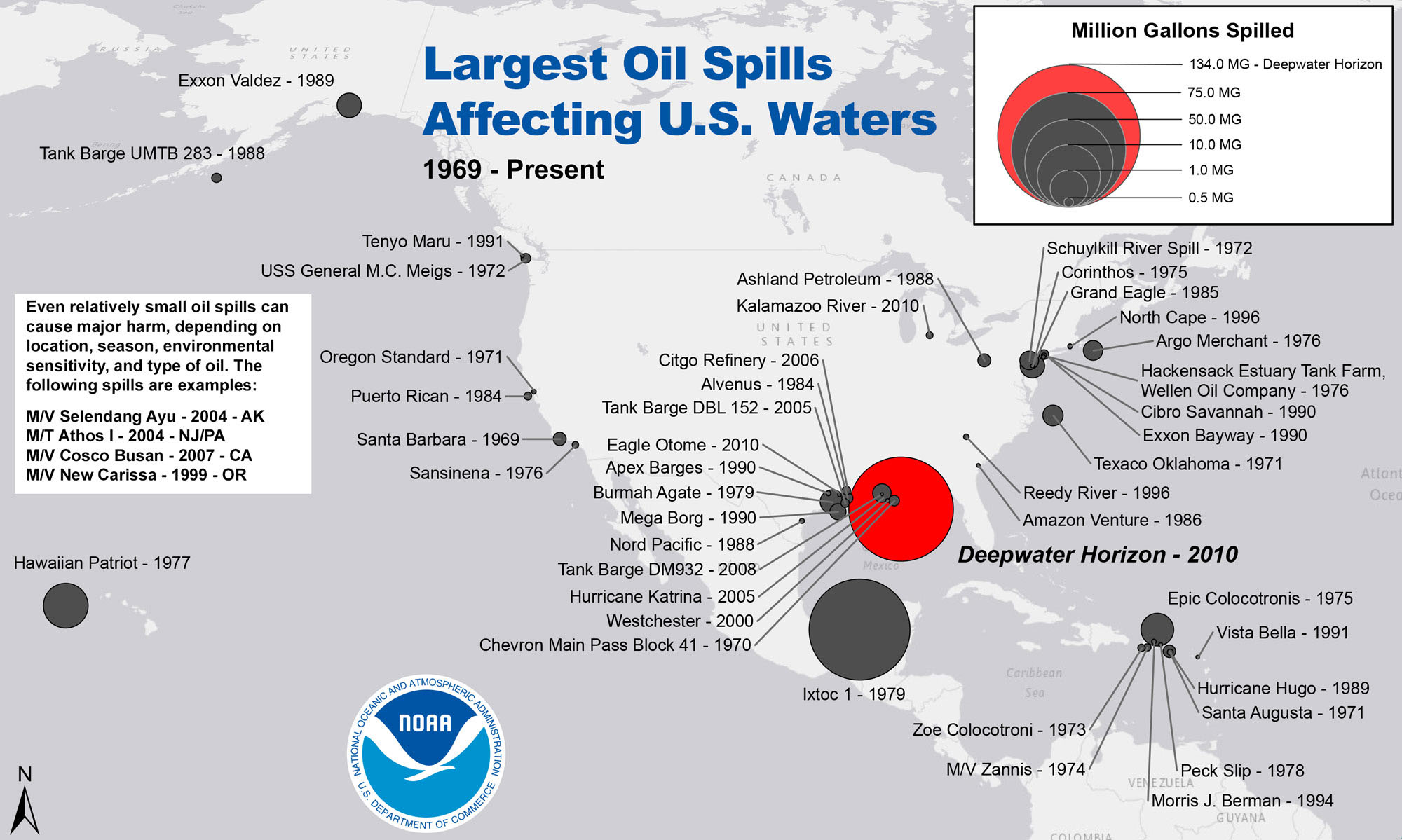Largest Oil Spills Affecting Us Waters Since 1969 Response