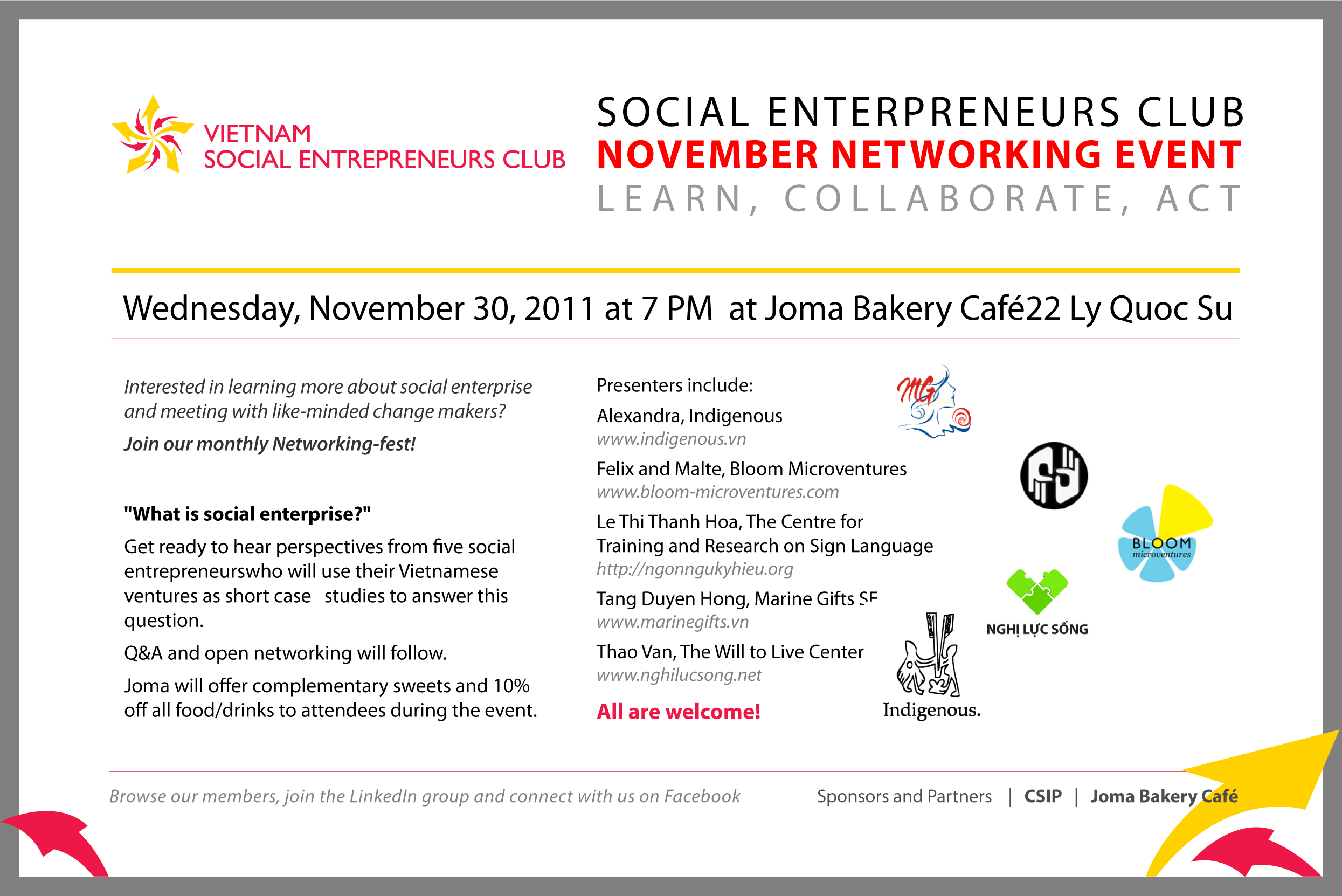 Vietnam Social Entrepreneurs Club Nov 30th Networking Fest