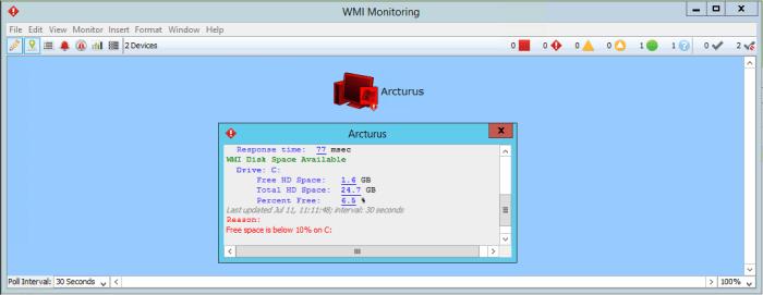 Contrôler automatiquement l' espace disque avec WMI et Intermapper