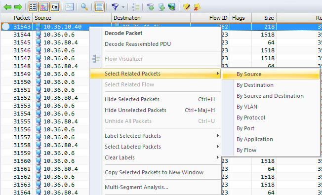 Avec la commande Select Related Packets vous isolez immédiatement le trafic lié à une station