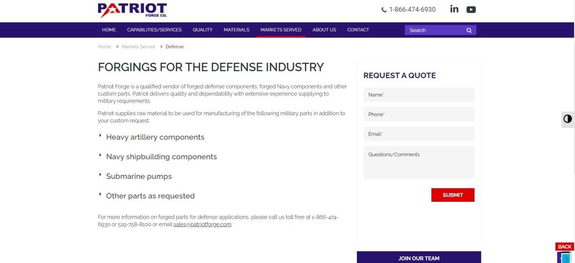 https://www.patriotforge.com/markets-served/defense/
