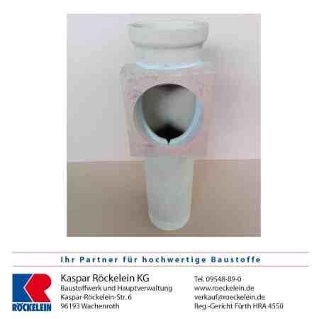 Kamin – Rauchrohranschluss – OSMOTEC isostat., oben, Abgasrohr Heizung 160 mm, Rauchrohröffnung 180 mm