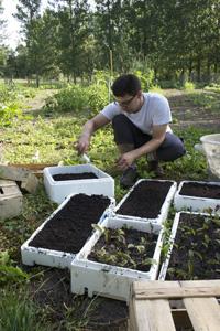 Bernard Gisquet dans son jardin