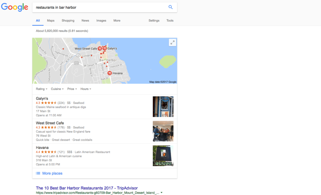 ranking restaurants in google maps