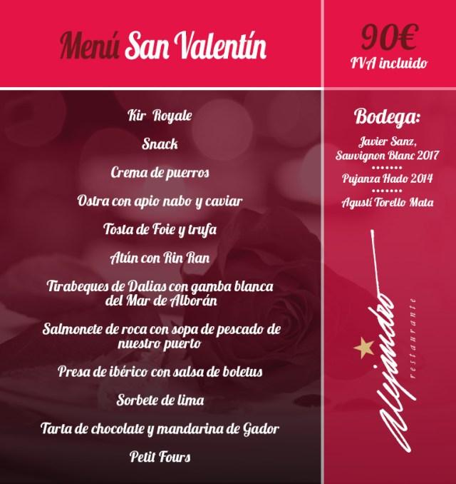 Menú de San Valentin Restaurante Alejandro